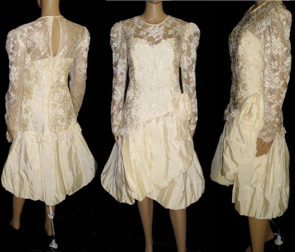 Vintage Wedding Gown Designers: Vintage 1980s Dress . Designer Nancy Bracoloni . Vintage