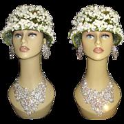 Vintage 1950s Hat . Floral . Designer . Femme Fatale Couture Mad