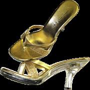 Vintage Lucite Platforms  .  Light Up Heels .  Lucite Platform Size  . 7 & 1/2 Stiletto .  NOS Gold Metallic