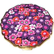 Vintage Stratton Compact . NOS .  Collectible Enameled Floral