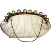 Vintage 1940s Handbag . Pearls - Evening Purse . Party . Prom . Cocktail Purse . Art Deco
