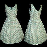 Vintage 1950s Dress . 50s Dress . Mod . New Look . Femme Fatale Garden Party - Blue - Floral