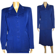 Vintage 1940s Suit . 40s Blue Suit . Women's . Tailored . WWII . Mad Men . Femme Fatale . Designer . Hourglass Pencil-Wiggle