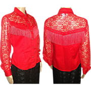 Vintage Red Blouse . Red lace . 70s Blouse . Country Western . Fringe . cowgirl . cowgirl blouse .