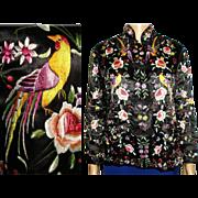 Vintage Oriental Jacket . Golden Dragon . Embroidered . 1950s Jacket . Blouse