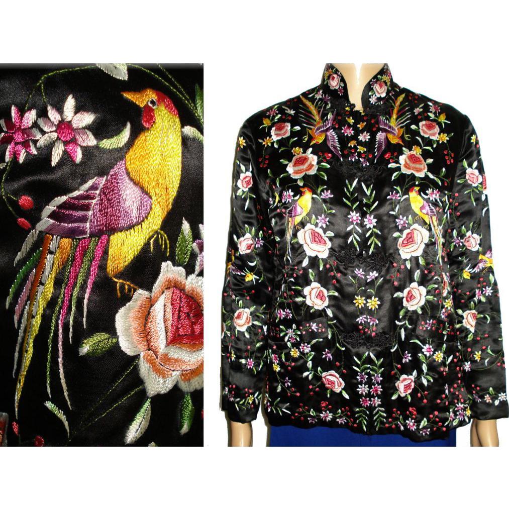 Vintage oriental jacket golden dragon embroidered