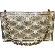 Vintage 1940s Purse . Carry All . Evans . Compartments - Sparkling Rhinestones