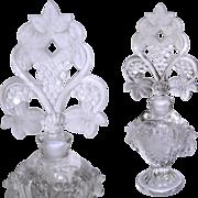 Vintage Perfume Bottle . 1930s . Ornate . Glass . Antique . 30s Perfume Bottle
