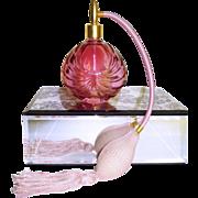 Vintage Perfume Bottle . Cranberry . Gold Gorgeous