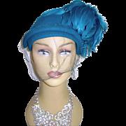 Vintage 1940s Hat .Aqua . Feather . Steampunk . Art Deco . Art Nouveau . Couture