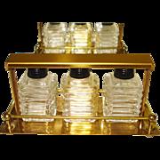 Vintage Perfume Bottles In Original Gold Stand . 1940s . Ornate . Glass . Antique . Perfume Bottles Orginal Box