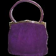 Vintage 1950s Purse Purple Handbag mad men rockabilly swing bombshell pinup garden party dress designer mid century