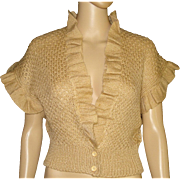 Vintage 1960s Sweater . Buttons at Waist - Designer New Look Rockabilly . Mad Men Garden Party Couture