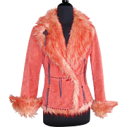 Vintage Suede Leather Jacket  .  Orange Light Peach Mod Faux Fur Retro Designer Couture Femme Fatale Rockabilly Designer Swing Mad Men
