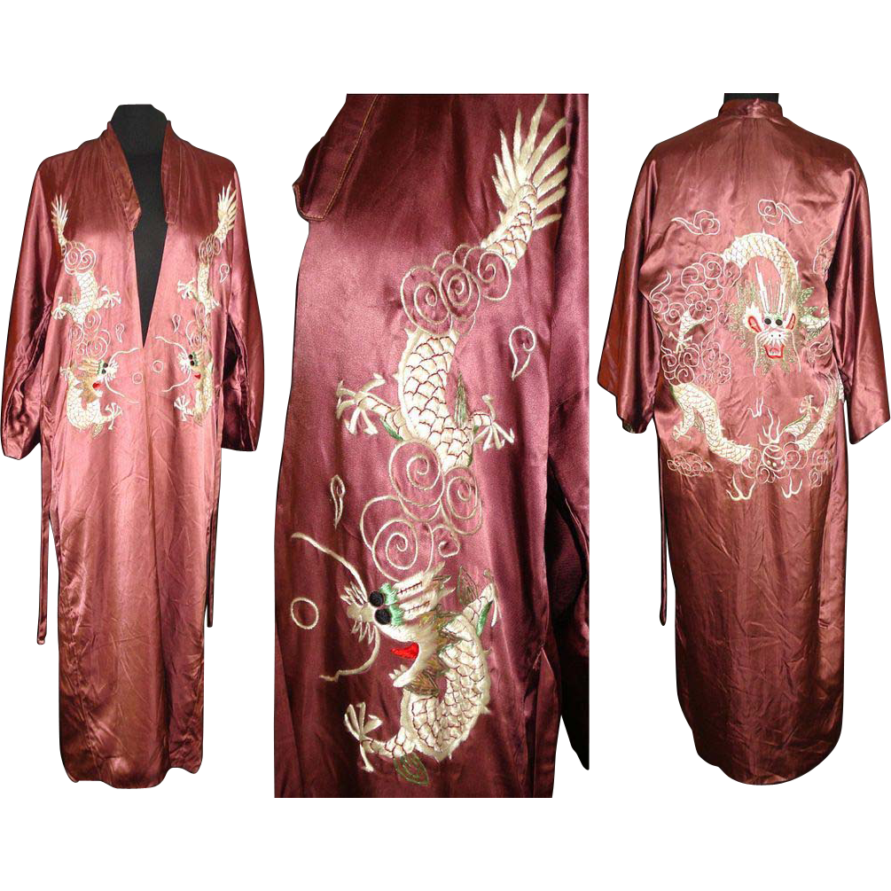 Vintage 1930s Robe . Dragon . Oriental . Embroidered . Dressing Gown ...