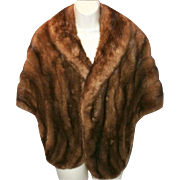 Vintage Mink Stole . Femme Fatale Couture Mad Man Pinup Garden Party Rockabilly Dress Coat Shawl Shrug