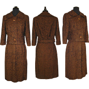 Vintage 1950s Suit Tweed Designer Brown Couture Femme Fatale Rockabilly Garden Party Mad Men Mid Century