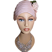 1950s Hat . Pink . Florals . Femme Fatale Couture Mad Men Garden Party Rockabilly Designer Dress Pinup Bombshell