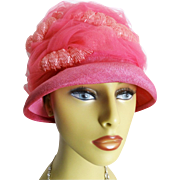 1950s Hat . Pink . Swirls of Ornamentation . Femme Fatale Couture Mad Men Garden Party Rockabilly