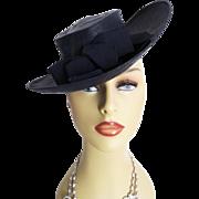 Vintage 1930s Hat . Topper Hat . Tilt . Navy Blue . Gorgeous