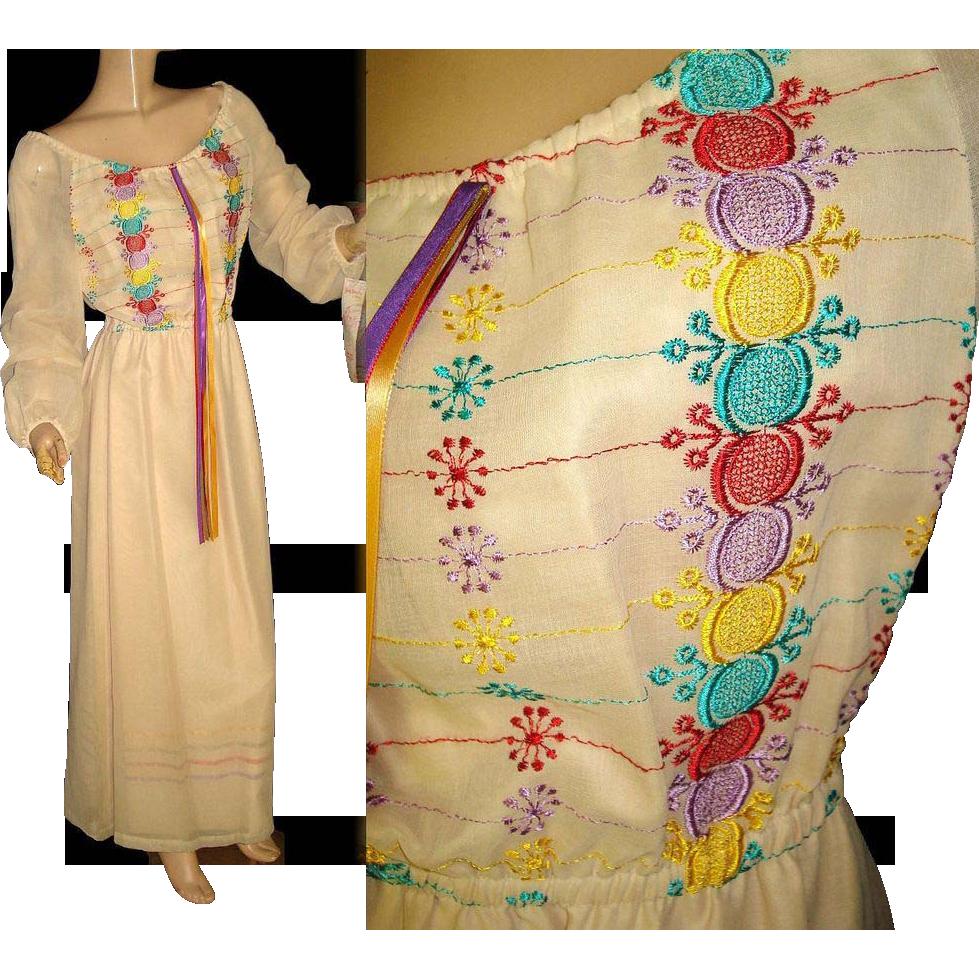 Vintage s dress maxi bohemian nos