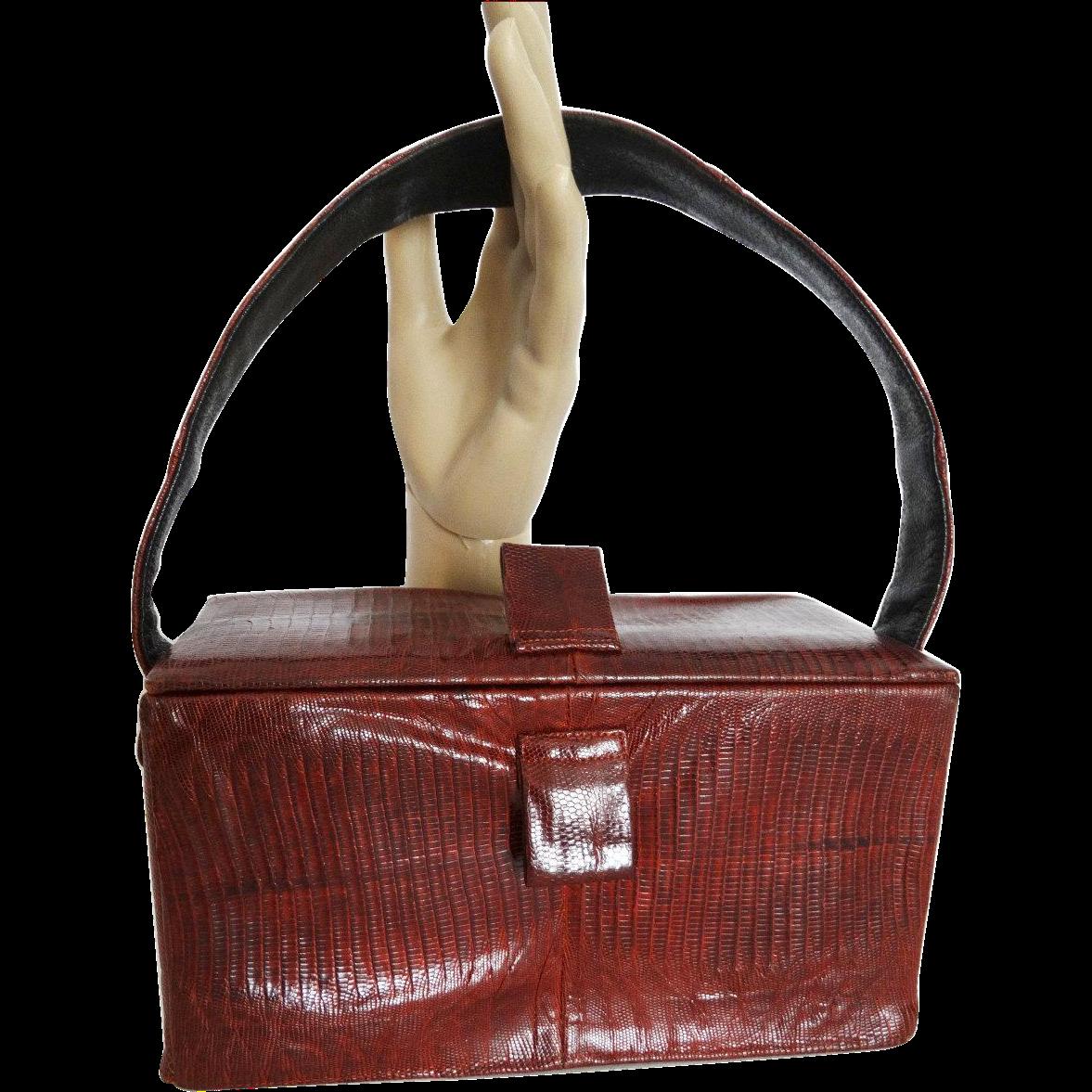 Vintage 1940s purse . Red Snakeskin . Box Purse ...