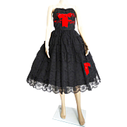 Vintage 1950s Dress . 50s Dress . Party Dress . Black Lace . Strapless