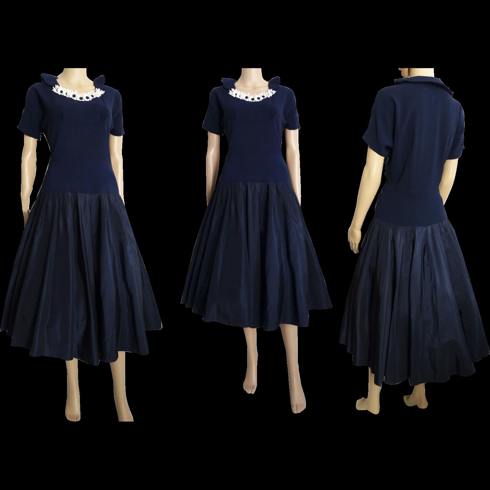 Vintage 1940s Dress . 40s Dress . Navy Blue - Party Dress . Daises ...