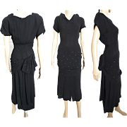 Vintage 1940s Dress . 40s Dress . Black . Party Dress . Rhinestones . Gorgeous . Designer