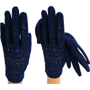1950s Gloves . Blue . Corde Lace . Rockabilly . Mod . Gown Wedding Garden Party Mad Men Cocktail Prom