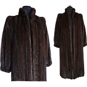 Vintage Mink Coat// Full Length//Kronenfeld Furs//Dark Sable// Stole// Shawl//Shrug//