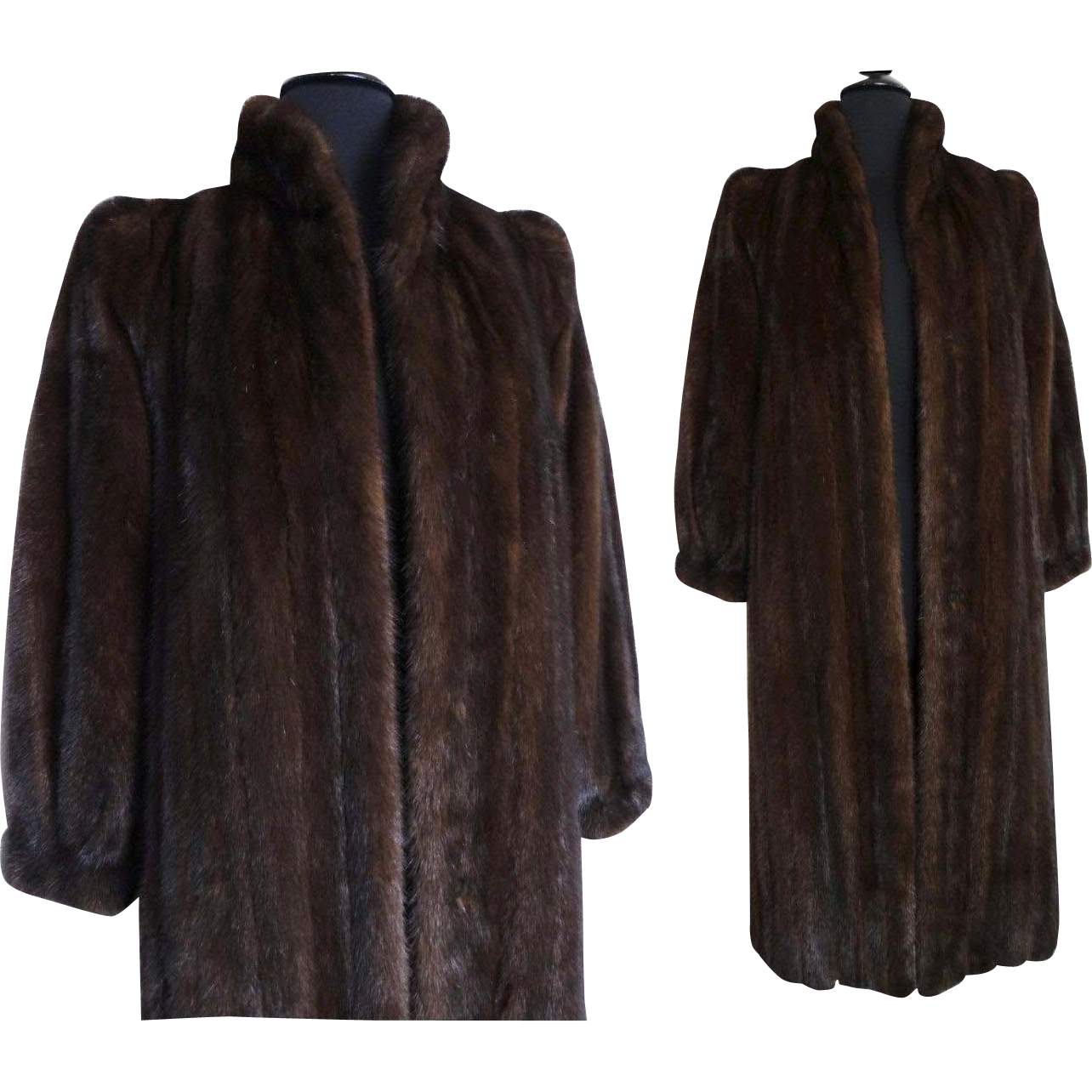 Vintage Mink Coat// Full Length//Kronenfeld Furs//Dark Sable ... for Sable Fur Cape  568zmd