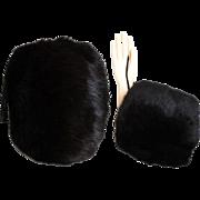 Vintage Fur Muff//Black Muff//Rabbit Fur//Hand Muff//Gloves//Coat//