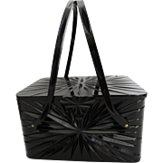 Black 1950s Lucite Purse//Wilardy//Starburst//Engraved// New Look// Retro Rockabilly