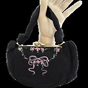Vintage 1940s purse//40s Handbag//Black//Hand Painted