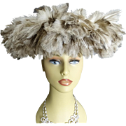 Vintage 1950s Hat//50s Feathered Hat//Mr. Henri//High Fashion//Wide Brim//Couture//Garden Party// Mad Men//Designer