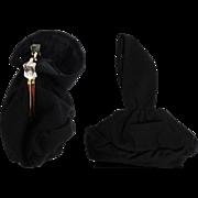 Vintage 1940s Purse//40s Handbag//Black//Lucite Ornamentation//Evening Purse//