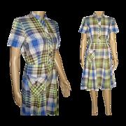 Vintage 1940s Dress . Designer .  1940s Vintage Dress - Plaid - Cotton - 1940s . Dress . 40s . Vintage