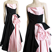 Vintage 1940s Evening Gown//40s Gown//Pink//Black//Flowing//Party Dress//Gown//