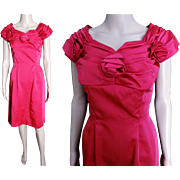 Vintage 1950s Dress//50s Dress// Magenta Pink//New Look//Mod//Wiggle//Cocktail Dress//Rockabilly