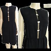 Vintage 1950s Dress //50s Black Hourglass// Couture// Femme Fatale//Party Dress//Cocktail Dress//