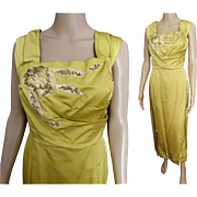 Vintage 1950s Evening Gown//50s Gown//Gold//Flowing//Party Dress//Gown//