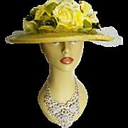 Vintage 1950s Hat//50s Floral Hat//Designer//Yellow// Femme Fatale// Couture// Mad Men// Garden Party//Mr. Josephs//New York//