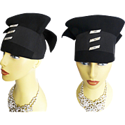 Vintage 1940s Hat//40s Hat// High Fashion//Old Hollywood//Black//Garden Party//Couture