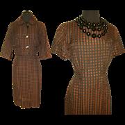 Vintage 1950s Dress . 50s Dress . 1950s Vintage Dress .  Korell  .  Matching Bolero 1950s . 50s . Dress . Vintage