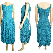 Vintage 1950s Dress//50 Dress//Party//New Look//Mod//Aqua//Wedding