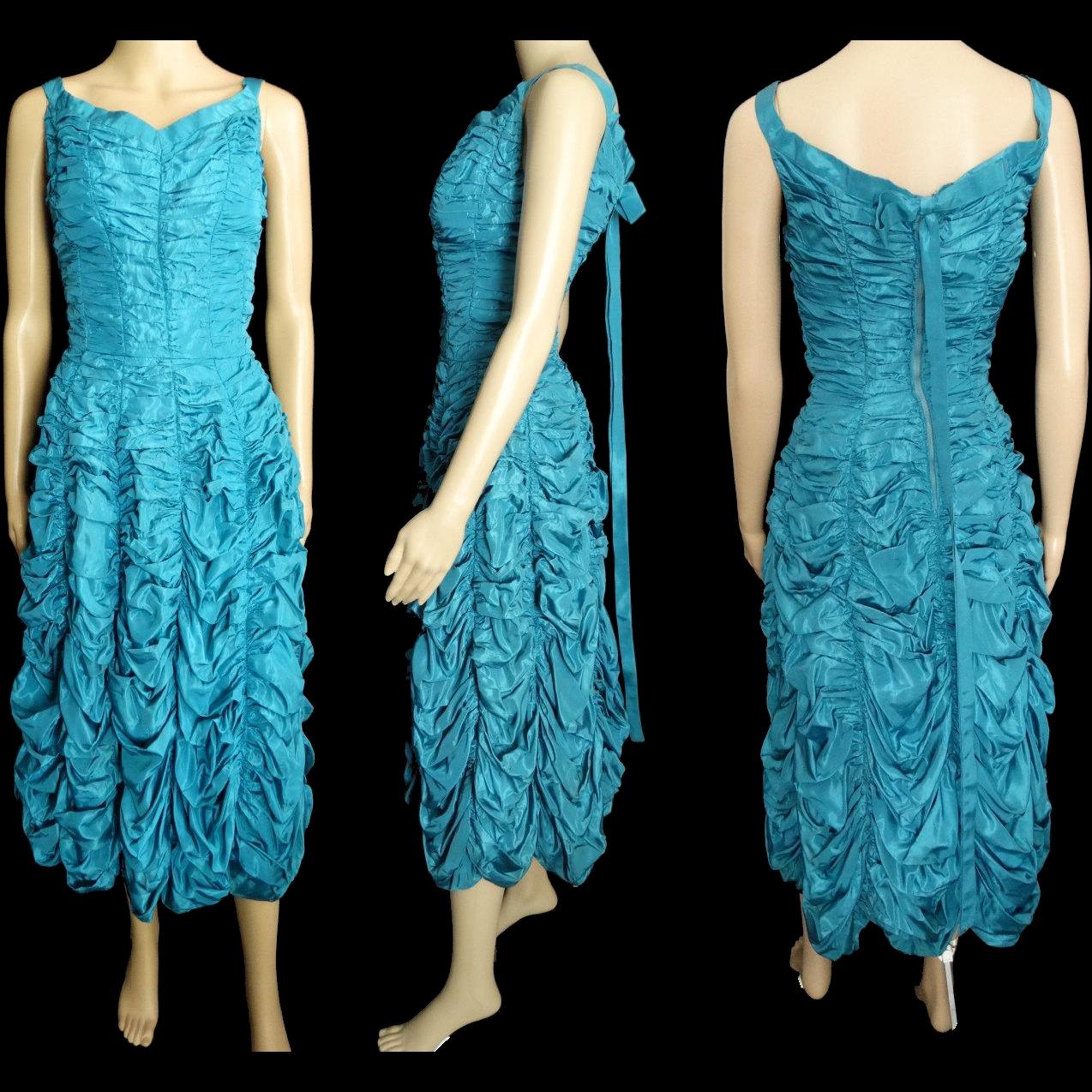 Vintage 1950s Dress//50 Dress//Party//New Look//Mod//Aqua//Wedding ...