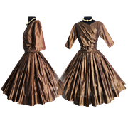 Vintage 1950s Dress//50s Dress//Brown// Garden Party//New Look//Mod//Mad Man//DeTrano Original