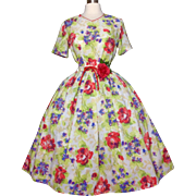 Vintage 1950s Dress//50 Dress//Floral//New Look//Mad Man//Garden Party