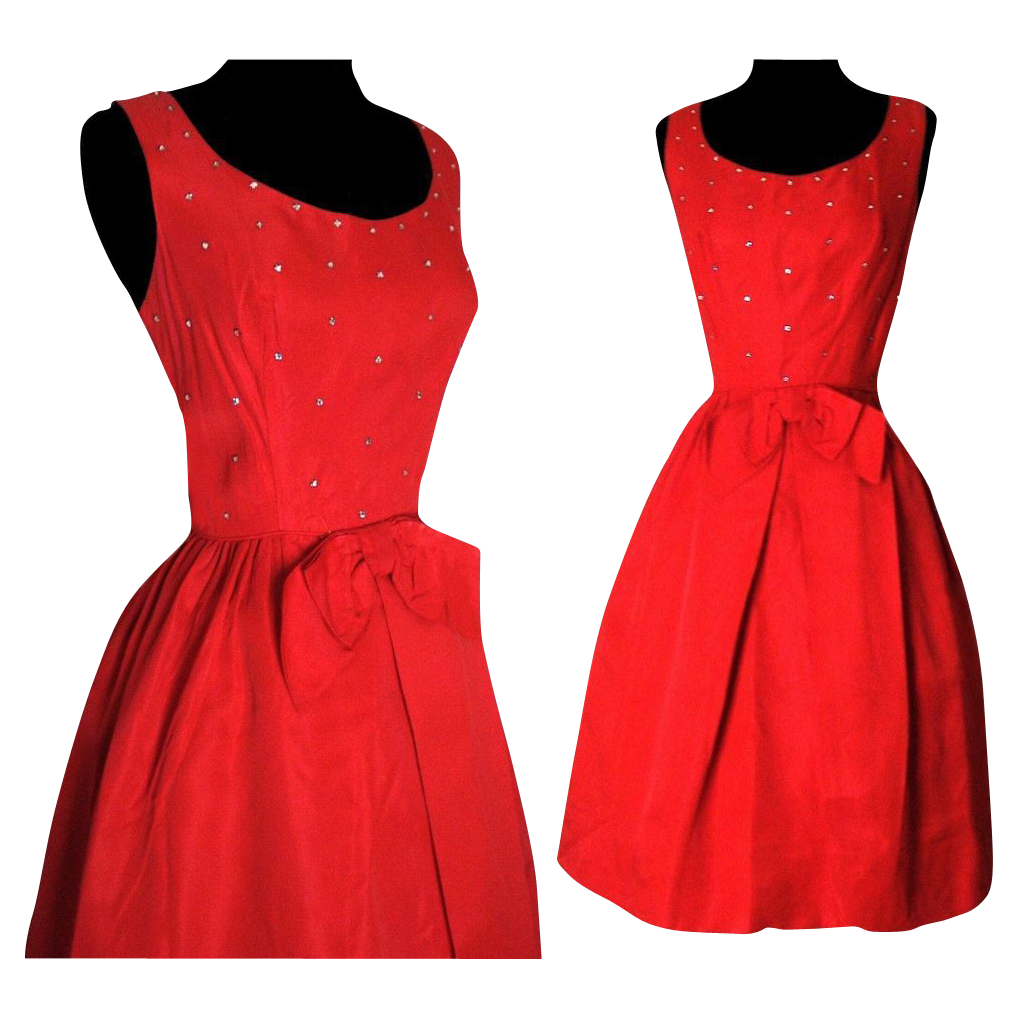 Vintage 1950s Dress . Cocktail Dress . Party Dress . Red from ...